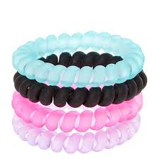 hair bobbles black pink purple and mint matte coiled hair bobbles s