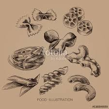 set of italian pasta sketches isolated on old paper background