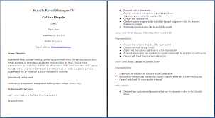 Retail Manager Resume Example Sample Resume Retail Sales Retail Sales Resume Sample Resume