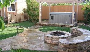 Fire Pit Backyard Designs by Bench Amazing Backyard Landscaping Idea With Stone Floor And