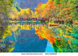 autumn colored trees reflecting lake stock photo 140996761