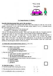 printable reading comprehension test 2 reading comprehension worksheets for intermediate level