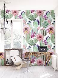 removable wallpaper uk watercolor cactus flowers removable wallpaper cacti wall mural