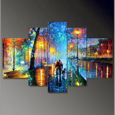 5 piece canvas wall art hand painted palette knife oil handpainted 5 piece palette knife oil paintings on canvas wall art