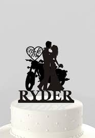 motorcycle wedding cake toppers wedding cake topper silhouette on motorcycle mr mrs