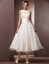 Tea Length Wedding Dress A Line Jewel Neck Tea Length Organza Wedding Dress With Beading
