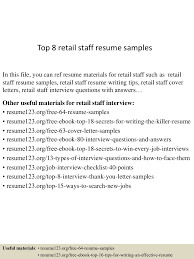 Sample Resume Objectives For Retail Jobs by Top8retailstaffresumesamples 150528095252 Lva1 App6892 Thumbnail 4 Jpg Cb U003d1432806841