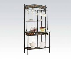 bakers racks bakers rack with wine glass holder holder with wine