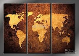 Map Wall Decor by 2017 Framed World Map 100 Handicraft 3 Panel Modern Wall