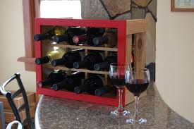 hand made cedar wine rack for your countertop gorgeous red frame