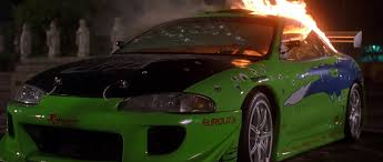 eclipse mitsubishi fast and furious image brian u0027s eclipse on fire jpg the fast and the furious