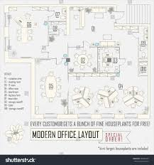 Modern Office Floor Plans by Modern Office Interior Vector Layout Furniture Stock Vector