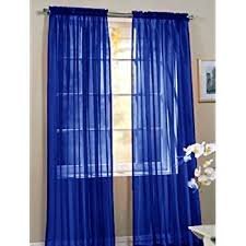 Blue Window Curtains 3 Royal Blue Sheer Voile Curtain Panel Set 2