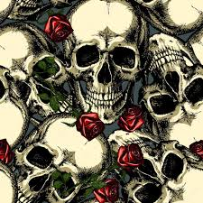pattern of skulls with roses stock vector andrcat 127479672
