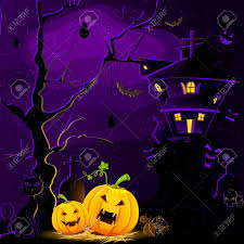 illustration of haunted house with halloween pumpkin in scary