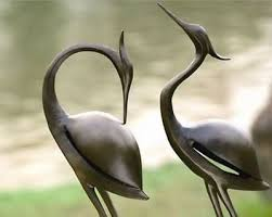 heron garden statue outdoor decor metal sculpture bird pair
