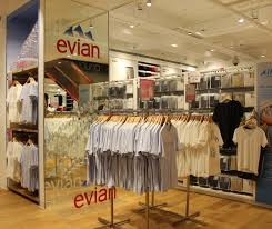 evian siege social hello flamingo creates displays for uniqlo x evian collboration