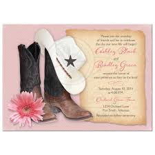 western wedding invitations wedding invitations cowboy boots hat pink