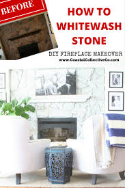 how to whitewash stone diy fireplace makeover u2014 coastal