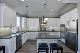 kitchen with limestone tile inset cabinets in hill ca