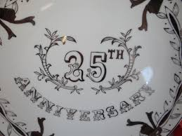 anniversary plate 1950s vintage painted lefton porcelain 25th silver wedding