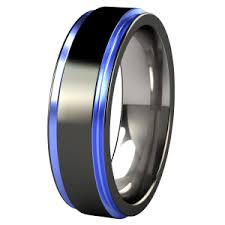 blue titanium wedding band titanium black and panther blue wedding rings for men