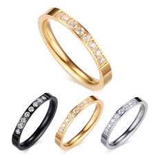 the goods wedding band black golden silver rings with rhinestone diamonds for in