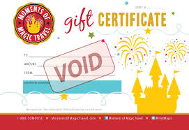 travel gift certificates moments of magic travel authorized disney vacation planner