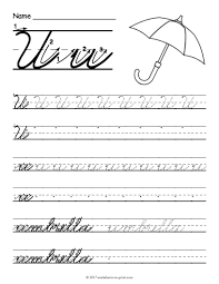 free printable cursive u worksheet cursive writing worksheets