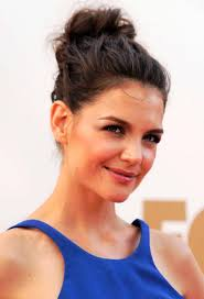 pictures of katie holmes cute casual loose bun updo hairstyle