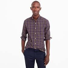 slim heather poplin shirt in purple plaid men casual shirts j crew