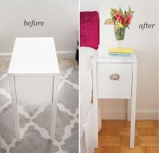 ikea charging station hack nightstand revamp marble contact paper diy furniture