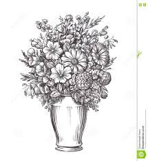 Vase Of Flowers Drawing Vintage Vase With Flowers Hand Drawn Sketch Illustration Stock