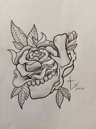 unique black dotwork rose tattoo design