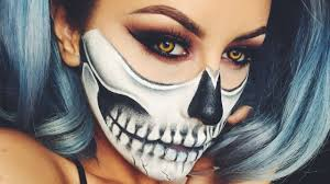 half face halloween makeup ideas halloween skull makeup chrisspy youtube