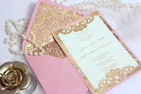 gold wedding invitations pink and gold wedding invitations plumegiant