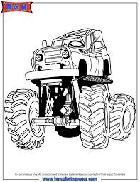 cartoon monster truck with big wheels and suspension coloring page