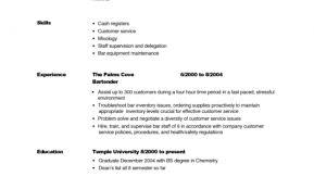 Sample Bartender Resume Skills by Sample Bartender Resume With Bartender Resume Skills U2013 Template Design