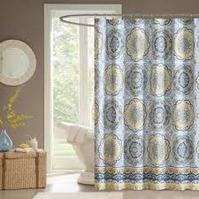 Blue And Yellow Curtains Prints Buy Blue Print Shower Curtains From Bed Bath U0026 Beyond