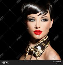 beauty fashion model with short hair rocker style brunette