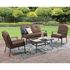 Patio Furniture Conversation Set Mainstays Wentworth 5 Piece Patio Conversation Set With Fire Pit