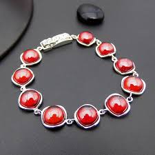 red chain bracelet images Synthetic red stone bracelets pure 925 sterling silver 20cm s925 jpg