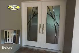 Exterior Glass Door Inserts Kordell Contemporary Abstract Glass Door Insert The Glass Door Store