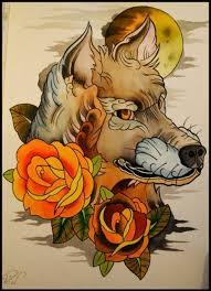 neo traditional wolf design best designs