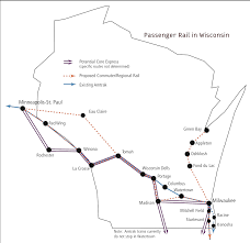Amtrack Route Map by Wisconsin Midwest High Speed Rail Association