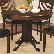 Round Cherry Kitchen Table by Sierra Round Dining Table With Pedestal Base Coaster 105750