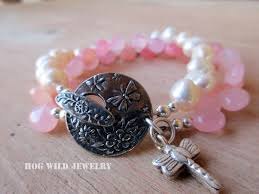pink pearl bracelet images Women 39 s summer shades of pink and pearl gemstone bracelet jpg