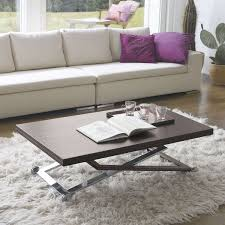 punto adjustable coffee dining table hide leather by antonello