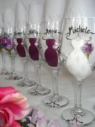 bridal luncheon favors painted personalized bridesmaid wine glasses great bridal