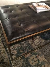 square tufted leather coffee table ottoman mecox gardens